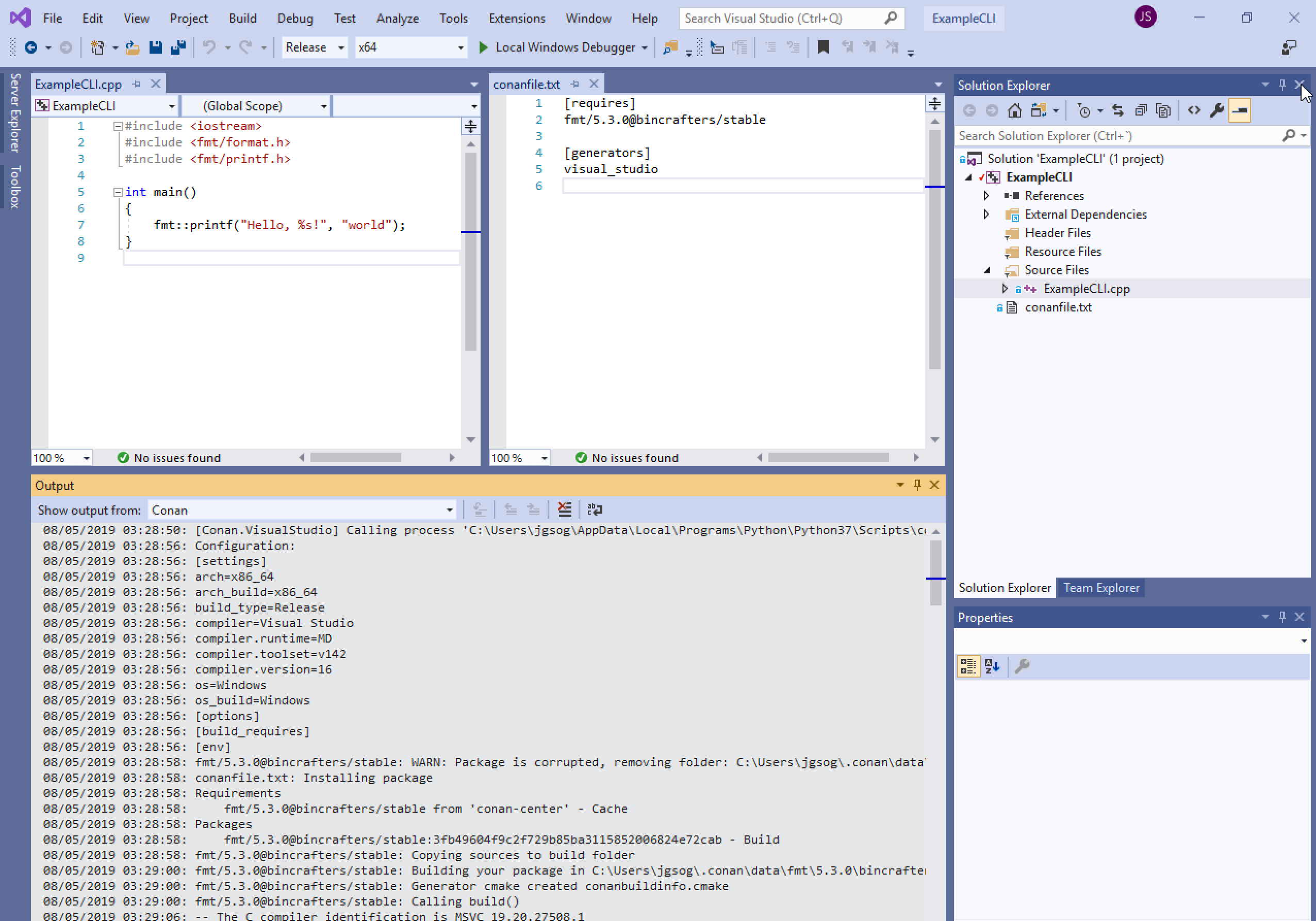 Working on Visual Studio